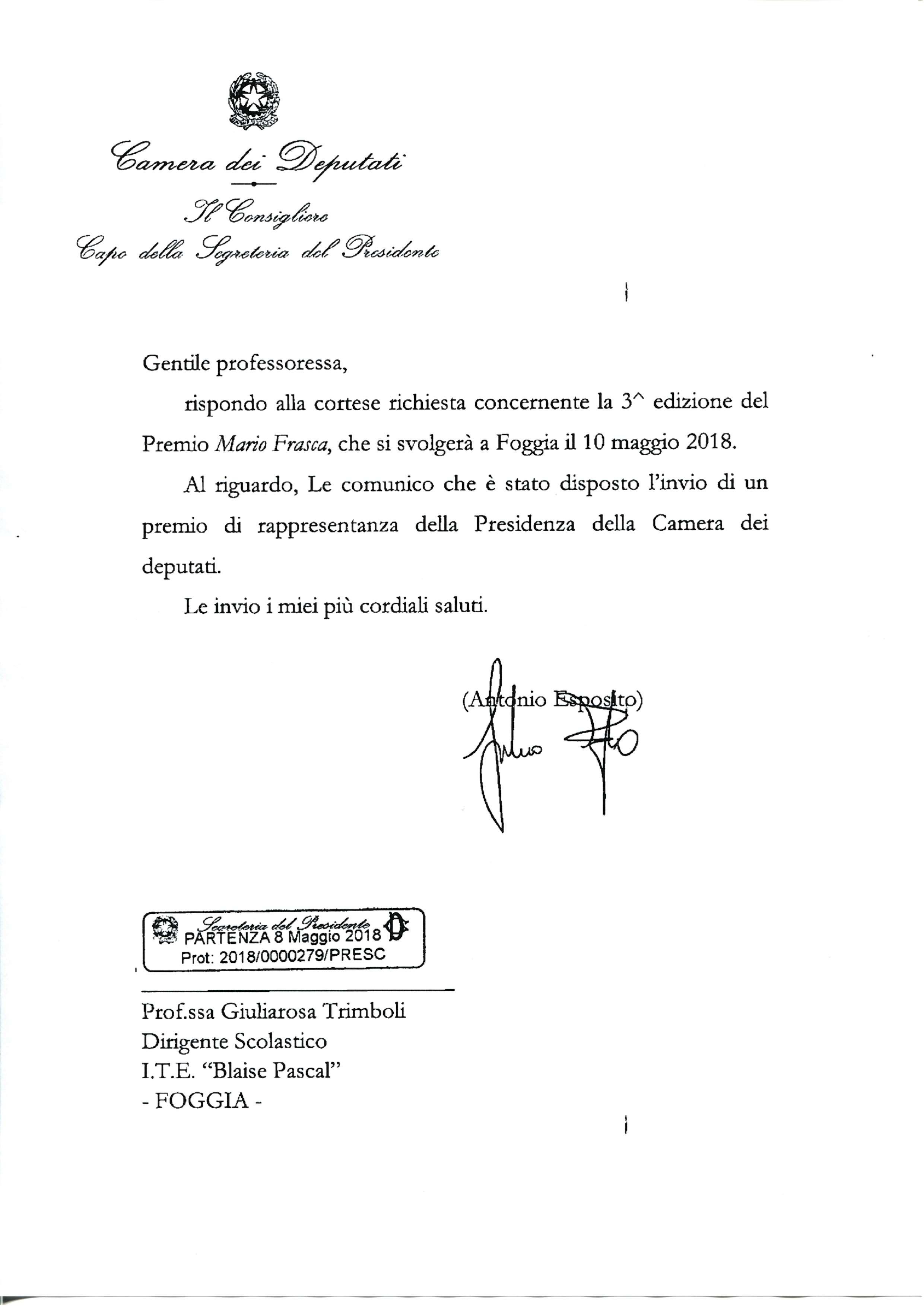 Camera Deputati Premio Frasca 2018